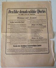 RARE RARITÄT AFFICHE PLAKAT WEIMAR REPUBLIK DDP 1919 WAHLEN DEUTSCHLAND