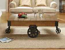 Industrial Wood Coffee Table Antique Factory Railroad Cart Iron Metal Rustic