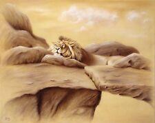 Jannys ART - DÖSENDER LÖWE 100 x 80 cm Original Airbrush Gemälde Kunst Malerei