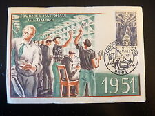 FRANCE PREMIER JOUR FDC YVERT 879  JOURNEE DU TIMBRE   12+3F  PARIS 1951