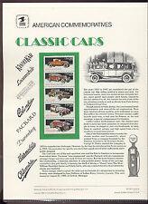 #2381-5 25c Classic Cars lUSPS #316 Commemorative Stamp Panel