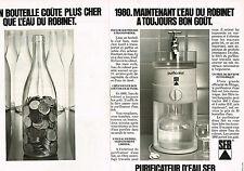 PUBLICITE ADVERTISING  1980   SEB   le purificateur (2 pages)