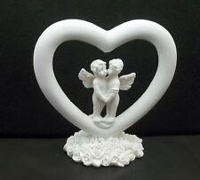 un couple d'anges dans un cœur ,chérubin, déco Noël, statuette GT-8/05