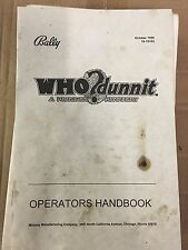 Who Dunnit Pinball Machine Operator's Handbook Manual