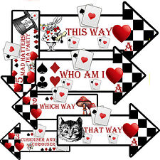 12 ALICE IN WONDERLAND Party Decoration Arrows party Prop Signs Quotes Black Red