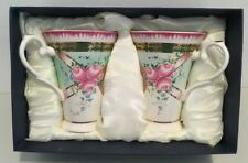 Vintage Imperial Porcelain Coffee/Tea Cups Set of 2 NIB Green, Pink & Gold