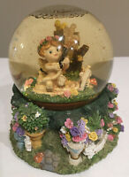 CHERUB baby with water hose in Garden of Flowers Bird House Musical Snow Globe