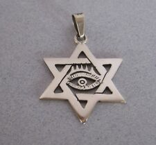 Mexican 925 Silver Taxco Star of David Jewish Protection Evil Eye Unisex Pendant