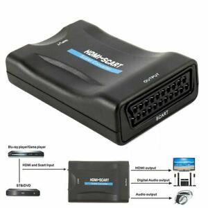 HD 1080P HDMI zu auf Scart Konverter Video Audio TV Adapter für DVD SKY+USB DE