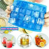 24 Cubes Large Silicone Ice Cube Mould Tray Plastic Home Freezer Maker Kitchen