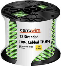 100' Stranded Electrical Copper Wire 12/3 THHN Cable Spool Black White Green