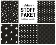 Stoffpaket schwarz 5x (0,5 x 1,50m) Patchworkpaket Baumwolle Nähpaket DIY Stoffe