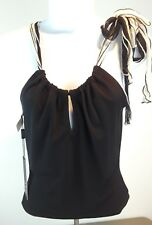 A.B.S by Allen Schwartz NEW Sleeveless Solid Black Top w/ Tie At Neck XS Petite