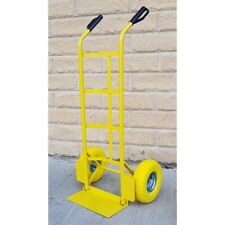 600LB Hand Truck Heavy Duty Sack Industrial Trolley Pneumatic Tyre Wheels Yellow
