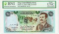 MINT IRAQ SADDAM HUSSEIN 25 DINAR MONEY 1986 CERTIFIED & SEALED UNC P 73