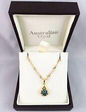 Unique Triplet Opal Necklace Pendant w Cubic Zirconias / Twice 18ct Gold Plated