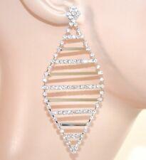 BOUCLES d'oreilles argent mariée élégant strass cristaux pendantes cérémonie E60
