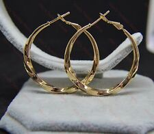 Ladies 18k/18ct Yellow Gold Filled Twist Pattern 4cm/40mm Hoop Earrings