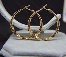 Ladies 18k/18ct Yellow Gold Filled Twist Pattern 4cm/40mm Hoop Earrings