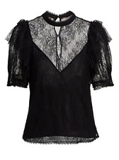 Free People Secret Admirer Blouse Lace Frill Victorian Short Sleeve Top XS UK 8