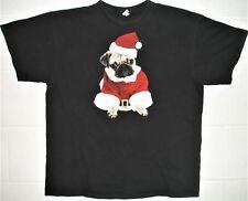 Pug Dog Santa Christmas Men XLarge T Shirt Black