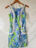 Lilly Pulitzer Blue Green Sleeveless Shift Dress Size 00