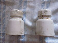 due isolatori in porcellana bianca per alta tensione marca verbano collezionismo