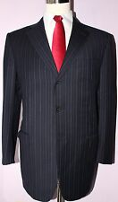 Zegna Trofeo Navy Blue Striped Three Button Side Vented Wool Suit 43-44 R 36 31