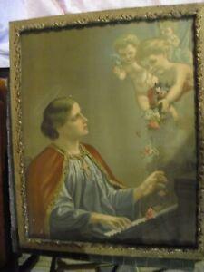 Vintage St. Cecilia Catholic framed art in antique wood frame
