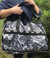 """Lesportsac Black White Print Duffle Gym Bag Multi-use 20"""" X 14"""" X 9.5"""""""