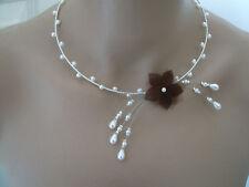 Collier Blanc/Ivoire/Marron/Brun Fleur robe Mariée/Mariage/Soirée perle pas cher