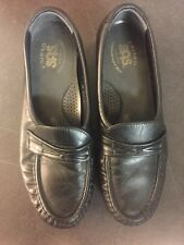 SAS TRIPAD COMFORT C8174480 WOMENS BLACK LEATHER LOW WEDGE LOAFERS SHOES 7M