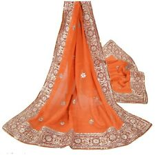 Sanskriti Vintage Heavy Dupatta Pure Silk Orange Handmade Gota Patti Work Stole