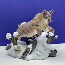 Linx sculpture figurine Danbury Mint Winter Chase Nick Bibby snow cat statue vtg