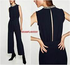 ZARA ELEGANT NAVY LONG JUMPSUIT WITH PEARLY NECKLINE SIZE L
