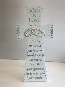 """Wedding Wooden Cross 12"""" Hang Or Stands White W/ Gold (Join In Love) - New"""