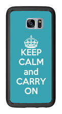 Turquoise Keep Calm and Carry On For Samsung Galaxy S7 Edge G935 Case Cover by A