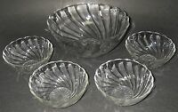 """Dominion Glass CANADIAN SWIRL Clear Berry Bowl Set Lge 7½"""" 4 Sm 4½"""" Depression."""