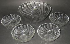"""Dominion Glass CANADIAN SWIRL Clear Berry Bowl Set Lge 7½"""" 4 Sm 4½"""" Depression"""