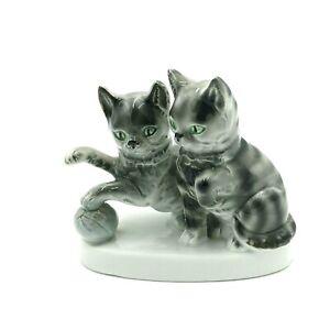 Kunst Porzellan Figurine Two Kittens and Ball Grey Tabbies Germany Porcelain