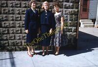 Pretty Girls Dresses 1950s 35mm Slide Kodachrome Vtg Fashion Sisters