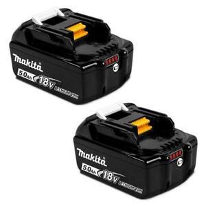 2 x Genuine Makita Cordless BL1850B 5.0ah 18v LXT Li-ion Battery with Indicator