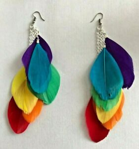 Brightly Coloured Feather Earrings Two Feather and Rainbow New