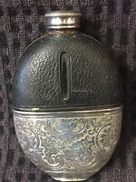 Silver plated and leather hip flask. James Dixon & Sons,Sheffield