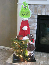 CHRISTMAS HOLIDAY WOODEN GRINCH LIGHT UP DECORATION / 39.25 in TALL / HANDMADE