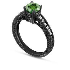 Enhanced Green Diamond Engagement Ring 14K Black Gold Vintage Style 0.60 Carat