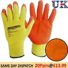 20 PAIRS LATEX COATED BUILDERS SAFETY GRIP WORK GLOVES MENS RUBBER GARDENING M/8