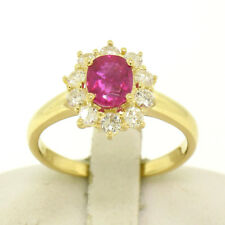 18k Yellow Gold 1.75ctw GIA Burma Ruby Solitaire w/ Brilliant Diamond Halo Ring