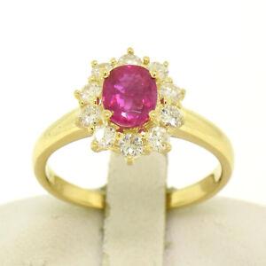 18k Yellow Gold 1.75ctw GIA Burma Ruby Solitaire w/ Brilliant Diamond Halo Ring
