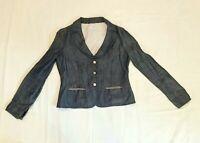 Armani Collezioni Made In Italy Denim Women's Wide Lapel Light Jacket Size 10